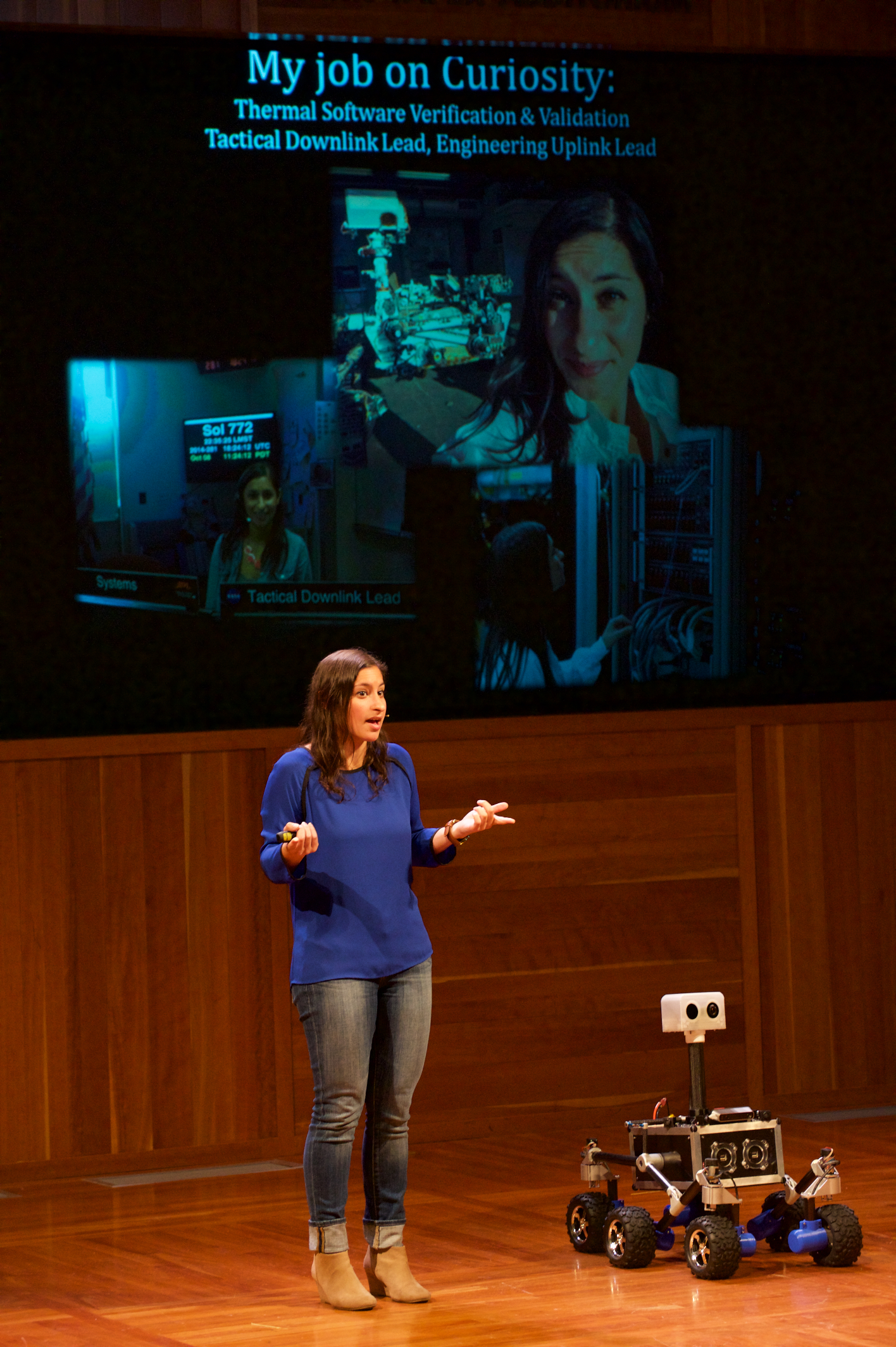Mallory Lefland, NASA JPL Engineer, & ROV-E demo robot (Remotely Operated Vehicle for Education)