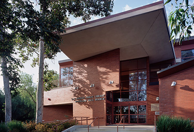 Exterior view of the Woodland Hills Library