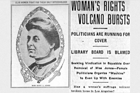 Mary L. Jones as Los Angeles City Librarian newspaper article