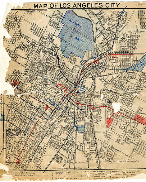 Redlined map of Los Angeles 1894