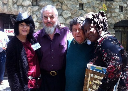 Suzanne Lummis with late poets  Austin Straus, Steve Kowit and Wanda Coleman