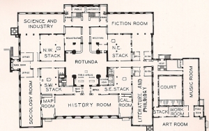 Plan of the original library, Rotunda level.