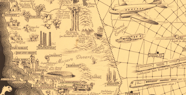 pictorial map of california (detail)