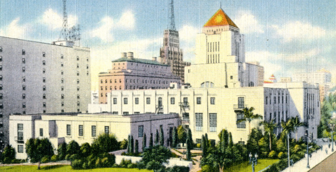 vintage postcard of central library