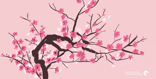 Graphic of blooming cherry blossom tree