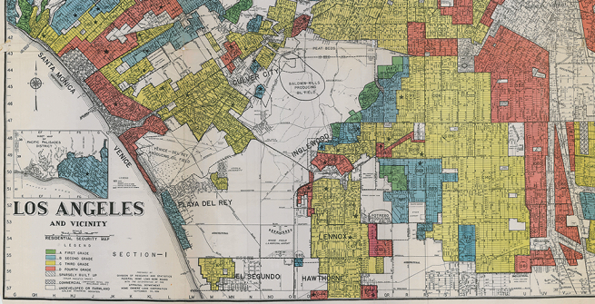 Close-up of color-coding legend of Los Angeles neighborhoods