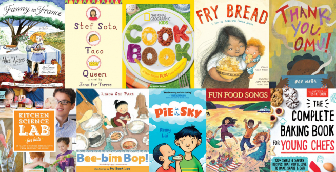 Collage of cookbooks and food science books