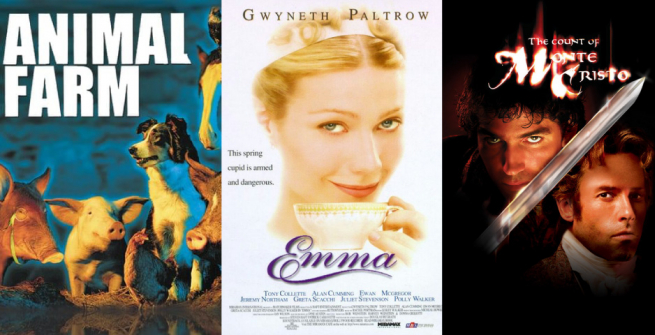 Collage of films adapted from classic books