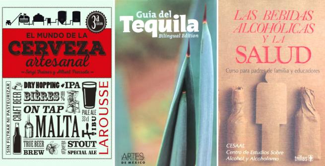 portada de tres libros sobre bedidas alcoholicas