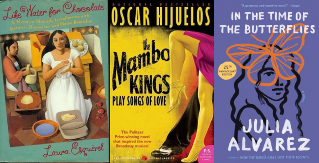Collage of books by Latinx authors