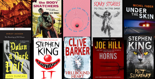 Collage of scary books made into films