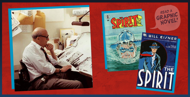 Will Eisner at his desk with his comic the Spirit