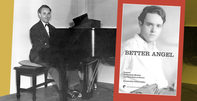 Forman Brown seated at the piano at Turnabout Theatre. Brown's novel, Better Angel