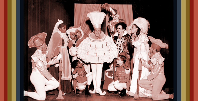 The cast of Tommy Turnabout's Circus onstage at Turnabout Theatre