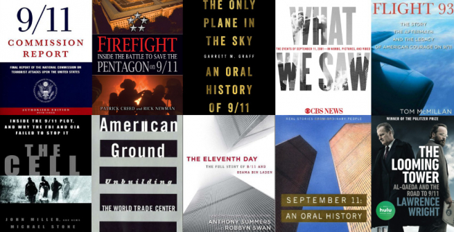 Collage of books about September 11 Terrorist Attacks