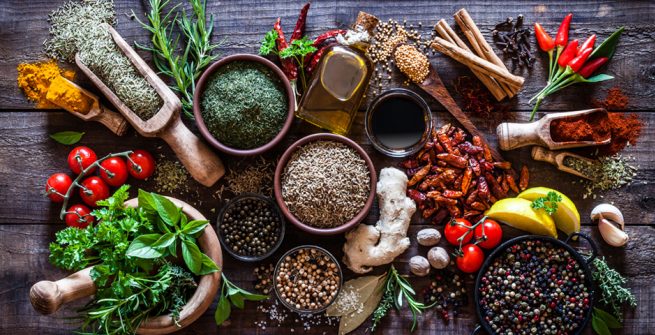 colorful close up of herbs and spices