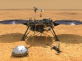 Rendering of the NASA InSight lander on the martian surface.