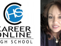 Career Online High School logo, photo of Brenda Trani