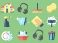 small icons of cleaning tools on green background