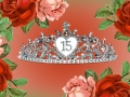 roses and a rhinestone crown for a quinceañera