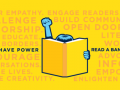 Illustration shows a person reading a book with their fist up
