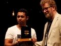 Deepak Unnikrishan receiving the 2017 Hindu Prize for Fiction from British novelist and journalist Sebastian Faulks.