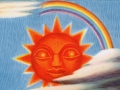 illustration of sun with face from pictorial map