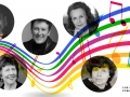 Photo of composers with a musical notes background