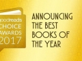 text banner in a gold background with the words goodreads choice awards 2017 announcing the best books of the year