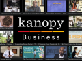 a screen shot collage of various business related Kanopy videos in one graphic with the words in text, kanopy business
