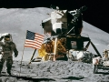 man on the moon with american flag