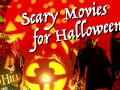 scary movies for Halloween graphic. pumpkins and scary figures in background