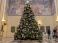 The holiday tree in the Central Library Rotunda