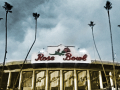 View of the Rose Bowl entrance flanked by tall palms on either sides