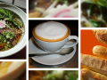 photo collage with ramen soup, cappuccino and baguette bread