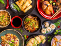 Famous Chinese cuisine dishes on table