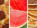 collage with pizza, watermelon and pancakes