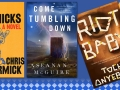 3 new book covers with a library logo