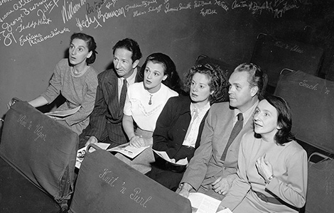 Turnabout mainstays Dorothy Neumann, Harry Burnett, Frances Osborne, Elsa Lanchester, Forman Brown, and Lotte Gosler are shown seated in the Turnabout Theatre in the 1940s. Photo by Otto Rothschild.