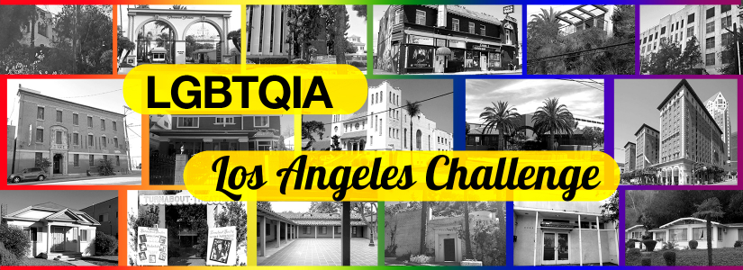 collage of historic places relevant to LGBTQIA history in LA