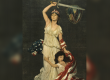 Vintage poster: Girl, symbolizing Near East, clinging to woman with sword and U.S. flag, symbolizing America