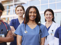 Group of medical profession heroes