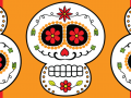 3 day of the dead skulls