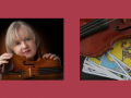 Kirstin Fife with chin rested on a violin, image of a violin on top of tarot cards