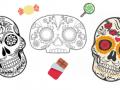 three drawings of Día de los Muertos calaveras, or skulls, surrounded by treats